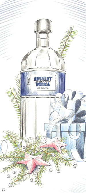 Absolut Vodka advertising illustration by John Brito