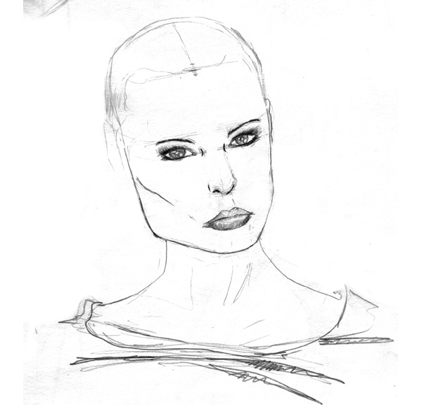 sketch beautiful girl
