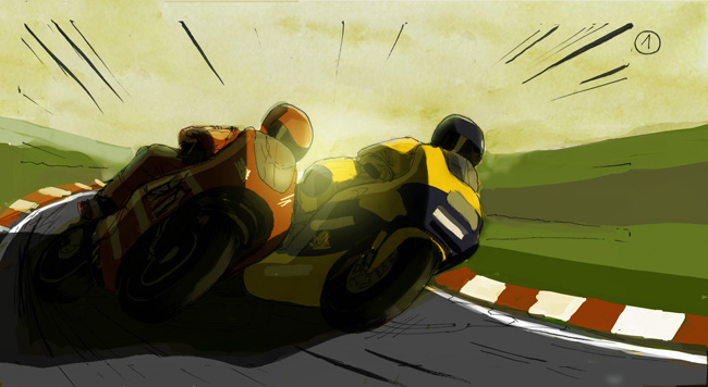 colored storyboard for TBWA by John Brito