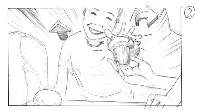 storyboard boy with muffin