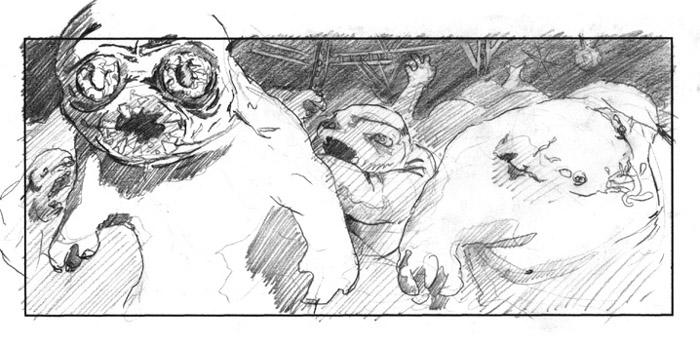 storyboard pencils monsters ghouls