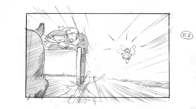 b/w storyboard showing Bad Santa Clause and a fairy