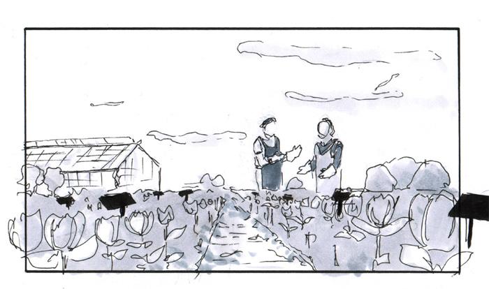 greytone storyboard old women in garden